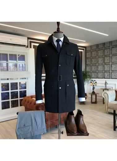 Terzi Adem 3525 İtalyan Stil Slim Fit Mevsimlik Erkek Trençkot Mont Lacivert T4905 Lacivert